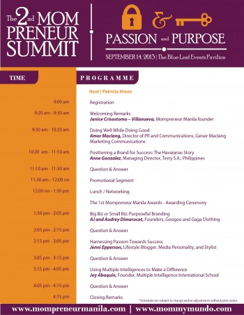 The 2nd Mompreneur Summit Programme Line Up